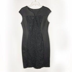 Connected Apparel | Black Sheath Work Dress 10